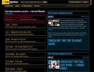 Página inicial do site de letras de músicas 'Rap Genius' (Foto: Reprodução/rapgenius.com)