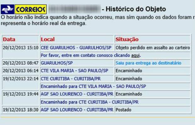 Rastreamento informa que a remessa foi roubada quando saiu para entrega (Foto: Reprodução)