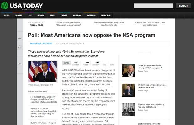 Pesquisa revela ceticismo nos EUA em relação aos programas da NSA, diz jornal 'USA Today'. (Foto: Reprodução/USA Today)
