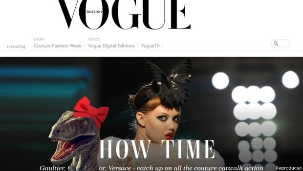 Dinossauro é um truque que pode ser habilitado a partir de comando na página da Vogue.com (Foto: BBC)