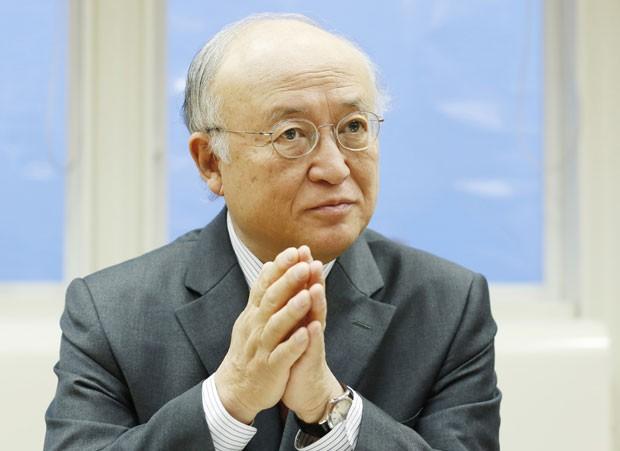 Yukiya Amano durante entrevista nesta quinta-feira (30) (Foto: Dieter Nagl/AFP)