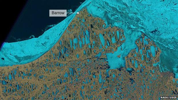 Entre os impactos das mudanças climáticas está o possível desaparecimento das estradas que cruzam lagos congelados no Alasca (Foto: BBC/Nasa)