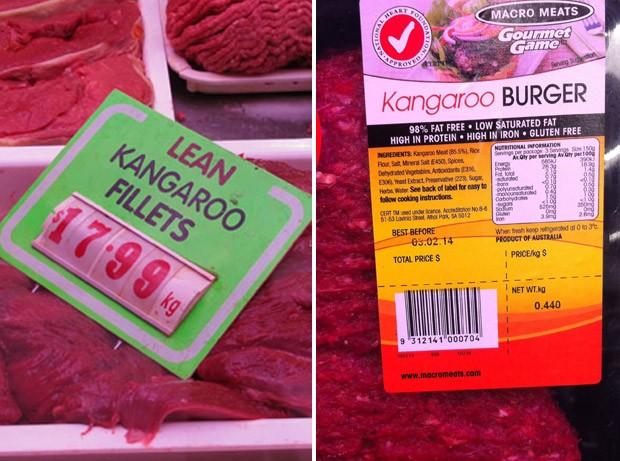 Filé e hambúrguer de canguru em gôndola de supermercado australiano (Foto: Flávia Mantovani/G1)