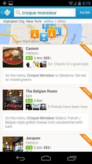 Foursquare mostra restaurantes próximos que oferecem determinado tipo de prato. (Foto: Divulgação)