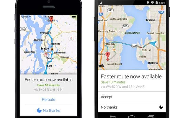 Aplicativo Google Maps passa a mostrar via alternativa com trânsito menos congestionado. (Foto: Divulgação/Google)