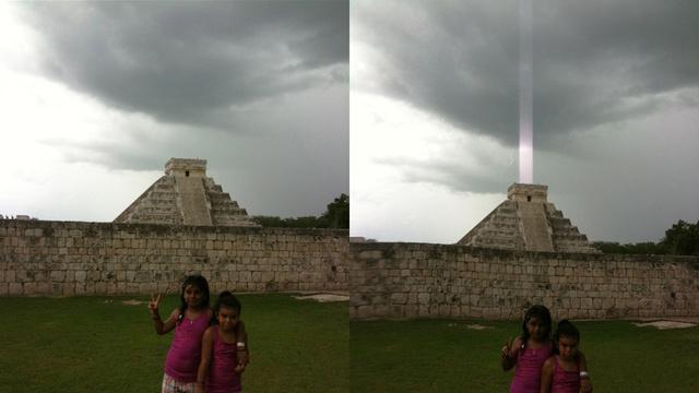 Fotografias tiradas segundos antes e durante os relâmpagos (Fotos: Reprodução/Hector Siliezar)