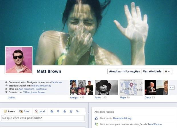 Modelo de Timeline, o novo perfil do Facebook (Foto: Reprodução)