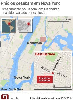mapa desabamento prédio harlem (Foto: Arte/G1)