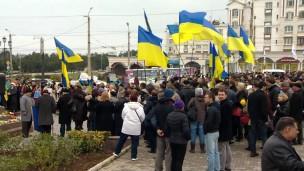 Grupo comemorava aniversário de poeta ucraniano (Foto: BBC)