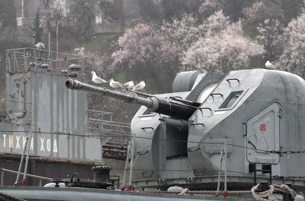 Gaivotas transformaram em poleiro um canhão de um navio militar russo ancorado em uma base naval no porto ucraniano de Sevastopol, na região de Crimea (Foto: Stringer/Reuters)