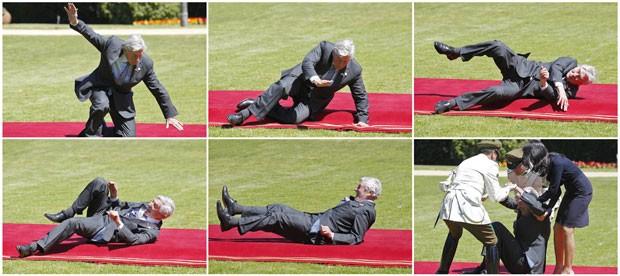 Combinação de fotos mostra queda do ex-premiê da Holanda, Ruud Lubbers, ao chegar a almoço para dignatários em Viña del Mar, no Chile, nesta terça-feira (11) (Foto: Eliseo Fernandez/Reuters)