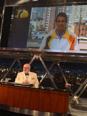 Henrique Capriles conversa com Jô Soares via internet (Foto: Globo/Ricardo Martins)