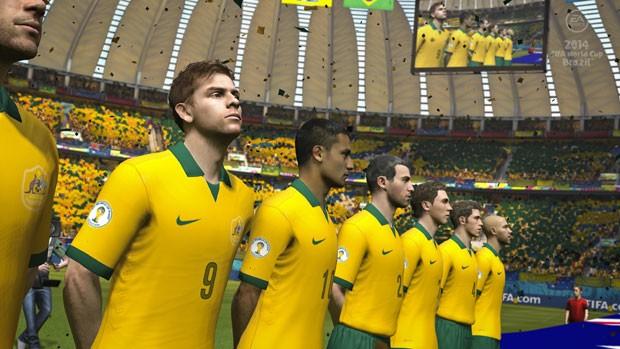 Seleção australiana em imagem do jogo oficial da Copa 2014. (Foto: Divulgação/Electronic Arts)