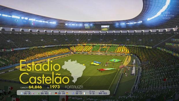 Estádio Castelão, em Fortaleza, em imagem do jogo oficial da Copa 2014. (Foto: Divulgação/Electronic Arts)