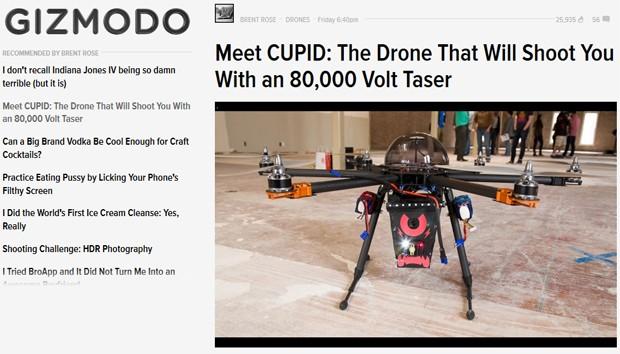 Drone é capaz de detectar invasores e disparar choque de 80 mil volts (Foto: Reprodução/Gizmodo)