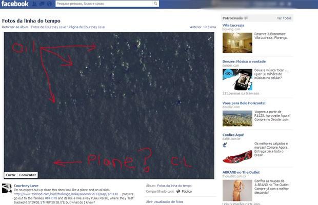 Imagem divulgada pela cantora em sua página do Facebook mostra o que ela acha que pode ser a localização do avião desaparecido (Foto: Reprodução/Facebook/Courtney Love)