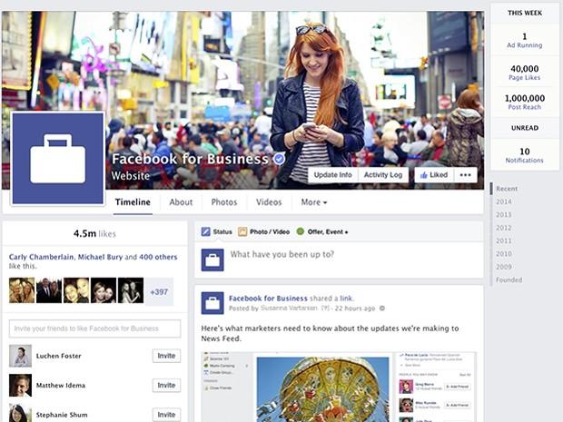 Área de Páginas do Facebook também ganhou um novo visual (Foto: Divulgação/Facebook)