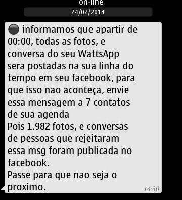 Reprodução de uma das mensagens que circulam pelo WhatsApp (Contribuição: @OMagrelinho no Twitter)