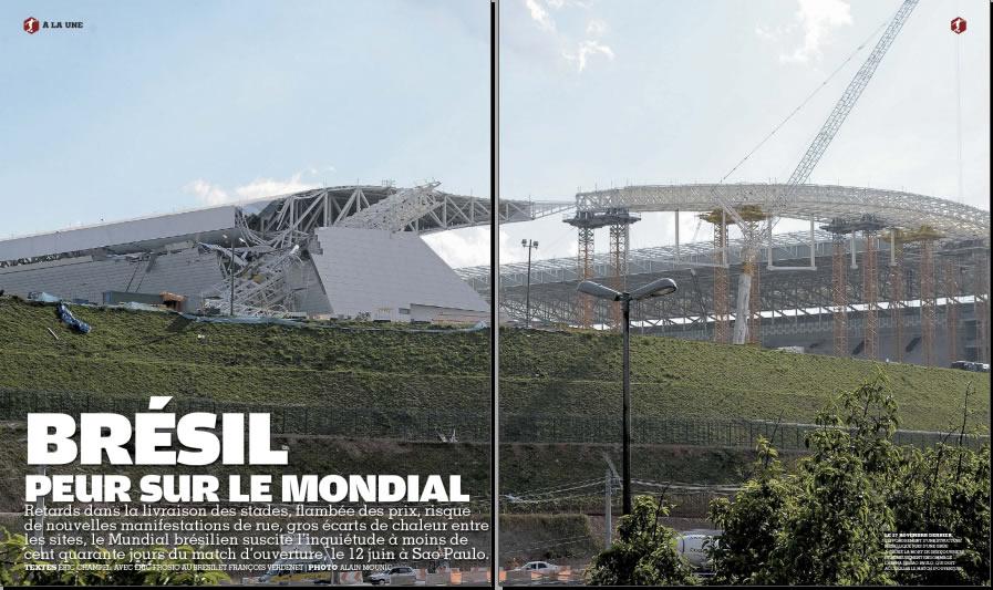 Páginas iniciais da matéria publicada na France Football mostra estádio Itaquerão em obras! (foto: Reprodução)