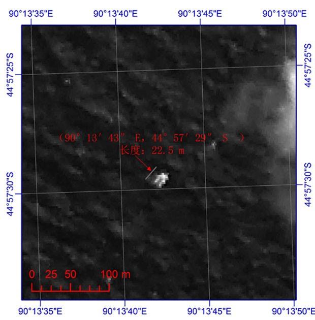 Imagem de satélite mostra um dos objetos que teria 22,5 metros por 13 metros (Foto: China State Administration of Science, Technology and Industry for National Defense/AP)