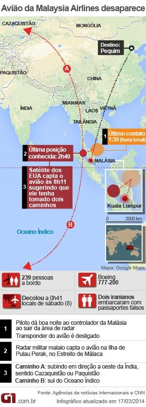 Arte avião MH370 17/03 sumido malásia (Foto: Arte G1)