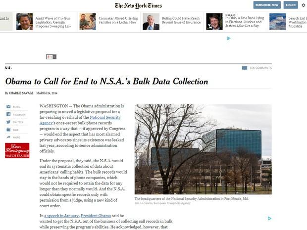 Reprodução da páguna do site do jornal The New York Times com o texto sobre a NSA. (Foto: Reprodução/Site The New York Times)