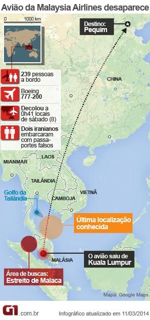 VALE ESTE 2 - mapa avião desaparecido malásia (Foto: Arte/G1)