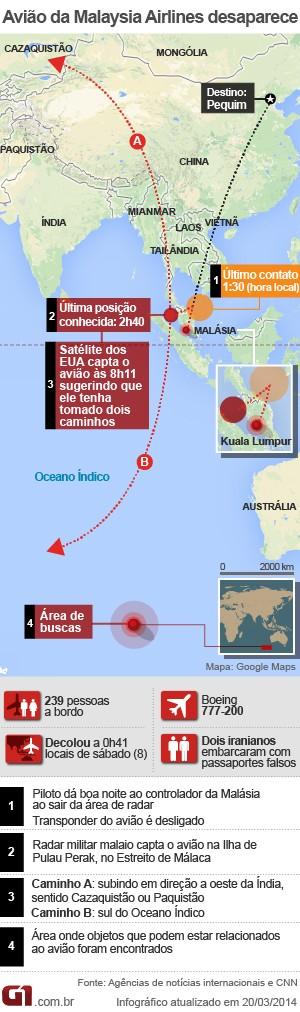 mapa avião desaparecido malásia - 20.03 (Foto: Arte/G1)