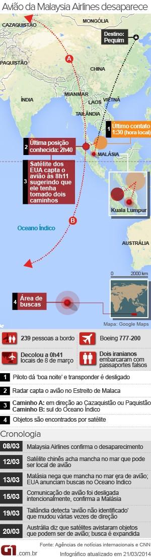 mapa avião desaparecido malásia - 21.03 (Foto: Arte/G1)