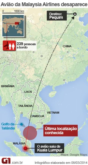 mapa avião desaparecido malásia - VALE ESTE (Foto: Arte/G1)