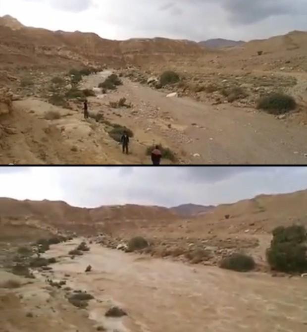 Acima, moradores esperam a água inundar o leito do Rio Zin, no deserto do Neguev; abaixo, a água já corre pelo rio, minutos depois (Foto: Reprodução/YouTube/??? ??)