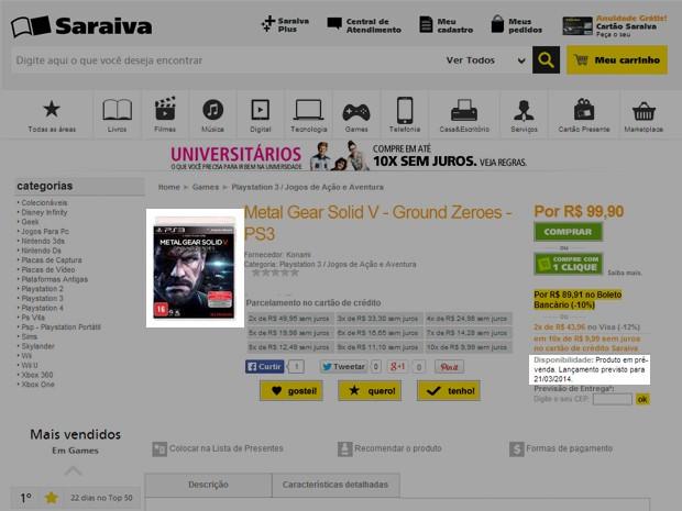 Mas 'Ground Zeroes' tem entrega prevista para 21 de março na loja virtual da Saraiva (Foto: Reprodução/Saraiva)