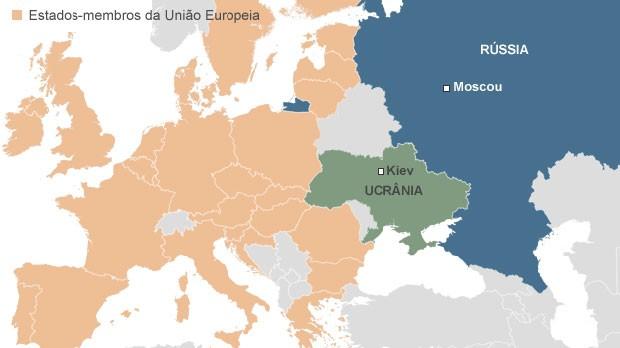 mapa ucrânia e união europeia (Foto: BBC)