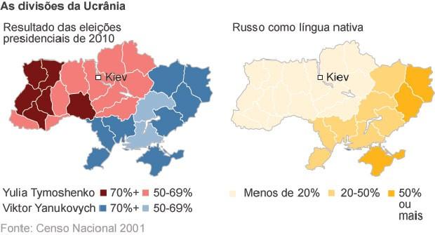 mapa ucrânia dividida (Foto: BBC)