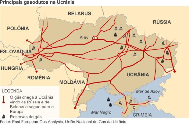 mapa ucrânia gasodutos (Foto: BBC)