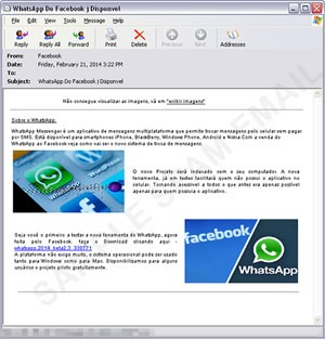 E-mail spam que comunica uma suposta versão do WhatsApp para computadores, mas, na verdade, direciona internauta para download de programa malicioso que rouba senhas bancárias. (Foto: Reprodução/Trend Micro)