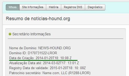 Data de registro do domínio é de 2014! (foto: Reprodução)