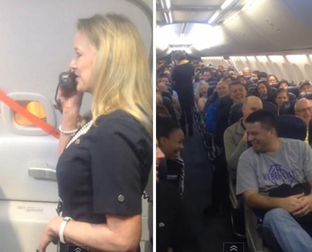 Martha Cobbs fez sucesso em voo ao fazer 'show de comédia' enquanto explicava as regras de segurança do avião (Foto: Reprodução/YouTube/Marty SWA)
