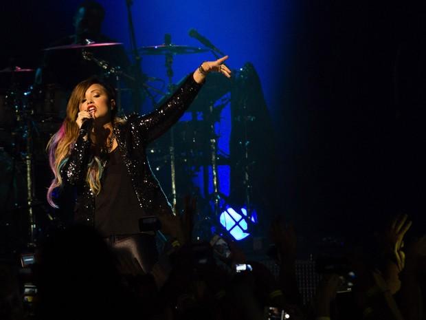A cantora americana Demi Lovato durante show na noite de terça-feira (22) no Citybank Hall, na zona sul da capital paulista (Foto: Adriana Spaca/Brazil Photo Press/Estadão Conteúdo)