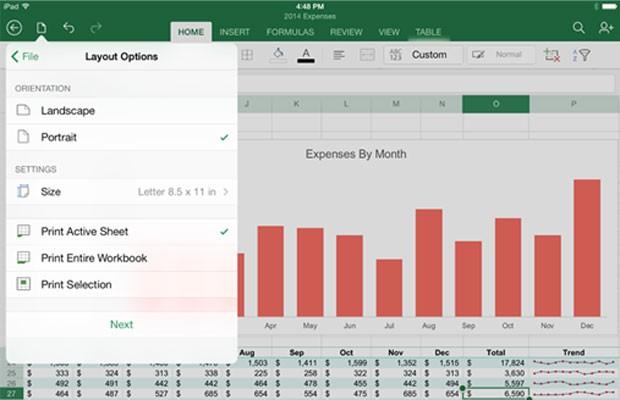 Microsoft libera atualização para que aplicativos Word, Excel e PowerPoint para iPad imprimam documentos. (Foto: Divulgaçao/Microsoft)