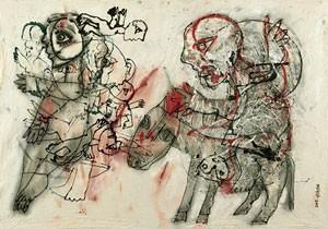 Obra do artista sírio Fadi Yazigi, que usa saco de farinha como tela (Foto: Divulgação/Institut des Cultures d'Islam )