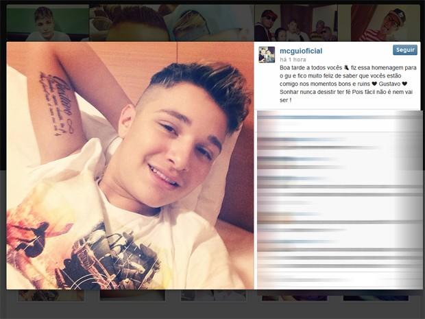 Funkeiro MC Gui faz tatuagem para homenagear seu irmão morto (Foto: Reprodução/Instagram)