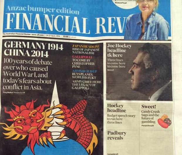 Jornal pediu desculpas após imprir capa contendo erros e palavrão na Austrália (Foto: Dominique Coorey/AFP)