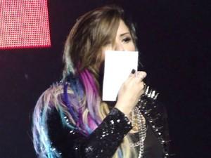 Demi Lovato beija foto de Milena Lima em show no Citibank Hall, em São Paulo, na noite de 22 de abril (Foto: Arquivo Pessoal/Carolina Moraes)