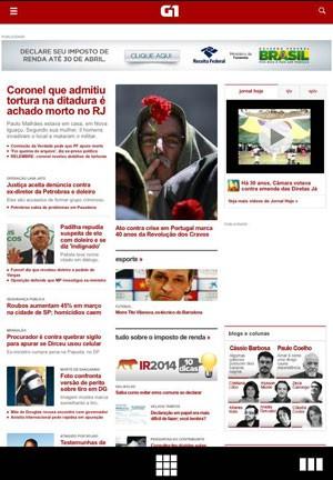 Página do G1 acessada pelo navegador Opera Coast no iPhone (Foto: Reprodução)