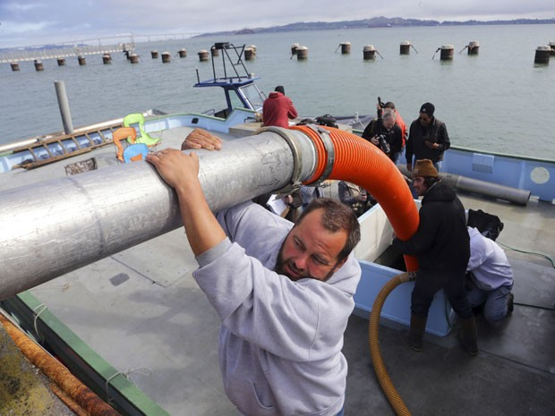 Operação feita em 8 de abril retirou salmões do Rio Sacramento e os colocou em um barco, com um tanque instalado, com destino ao Oceano Pacífico (Foto: Jim Watson/AFP)