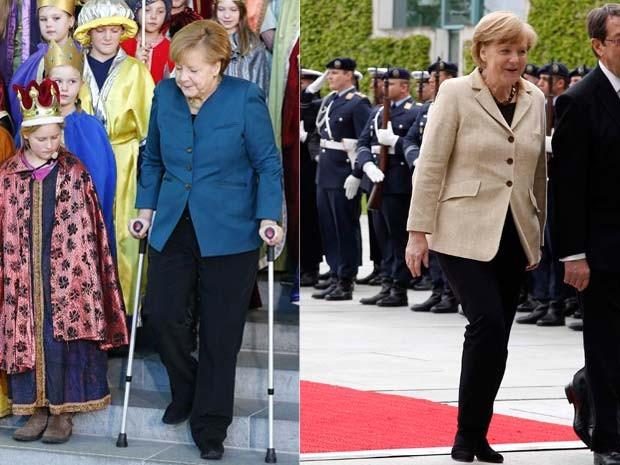 Angela Merkel aparece em foto em janeiro, após sofrer acidente de esqui na Suíça, e em maio, durnte cerimônia em Berlim (Foto: Reuters/Tobias Schwarz)