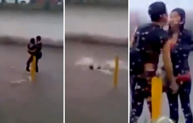 Sequência mostra casal caindo em buraco, enquanto homem levava namorada nos braços (Foto: YouTube/Reprodução/AZN)