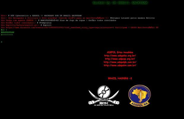 Hackers invadem páginas das associações de delegados de polícia de São Paulo, Santa Catarina e Rio Grande do Norte. (Foto: Reprodução/adpesp.org.br/)