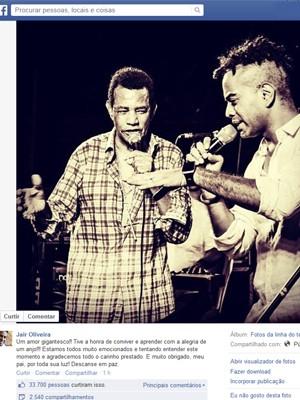 Filho de Jair Oliveira lamenta morte do pai nesta quinta-feira (8) (Foto: Reprodução / Facebook)